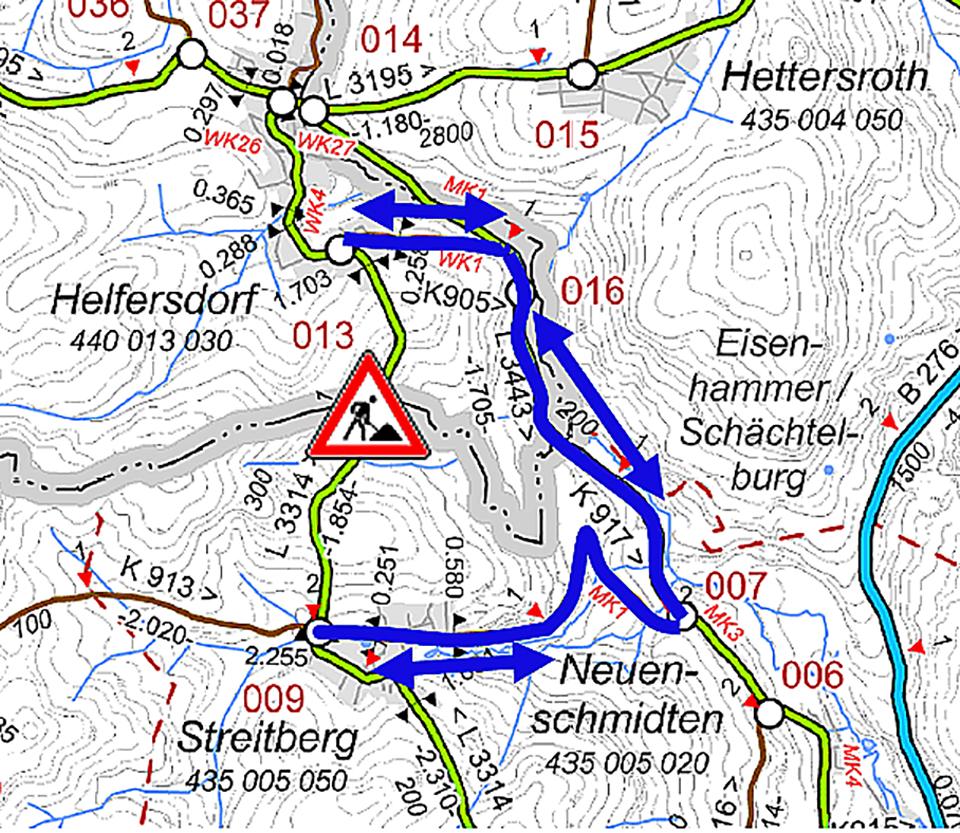 Entwässerungsarbeiten an der L 3314 zwischen Kefenrod/Helfersdorf und Brachtal/ Streitberg – Vollsperrung erforderlich